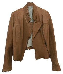 Dallin Chase Leather Tan Cropped Jacket