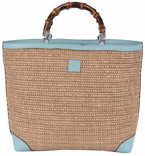 gucci natural and ocean wave straw tote tradesy. Black Bedroom Furniture Sets. Home Design Ideas