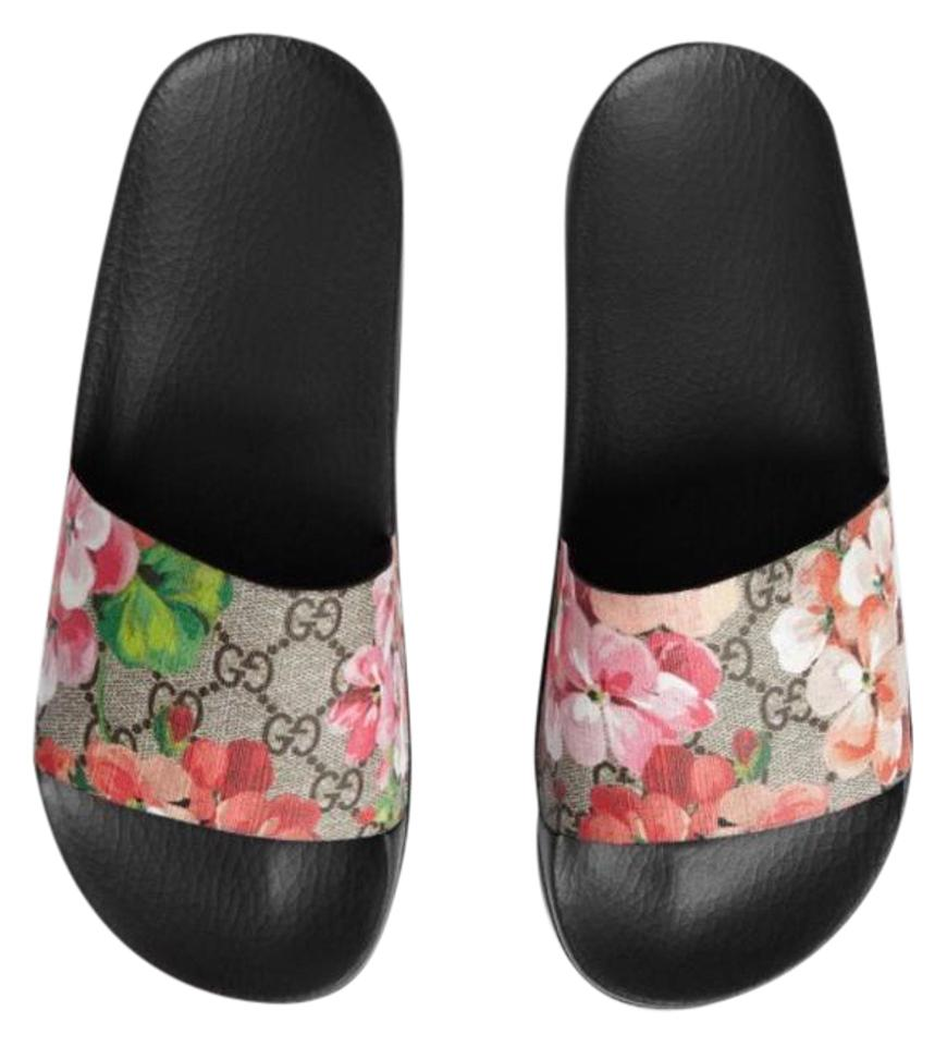 71bfe7ab0 Gucci Gg Pursuit Iconic Blooms Floral Supreme Slide Sandals Size US ...