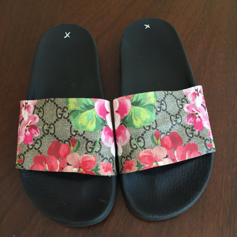 e0ecbedf3b5 Gucci Gg Pursuit Iconic Blooms Floral Supreme Slide Sandals Size US ...