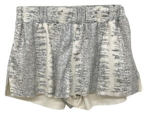 Georgie Snake Print Gathered Waist Medium Cut Off Shorts cream