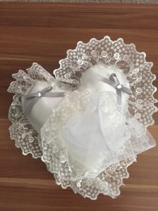 Ivory with Silver/Dark Gray Ribbon Ring Bearer Pillow