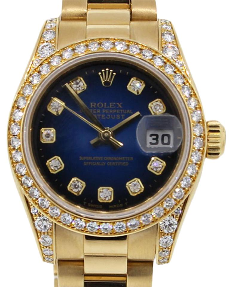 Rolex Blue Yellow White Datejust 179158 Gold Diamond Dial Ladies Presidential Watch 62 Off Retail