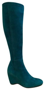 Hogan Blue Wedge Turquoise Suede Vintage Lagoon Boots
