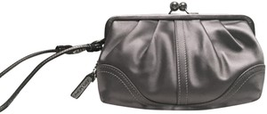 Coach Satin Limited Edition Wristlet Gray/Silver Clutch