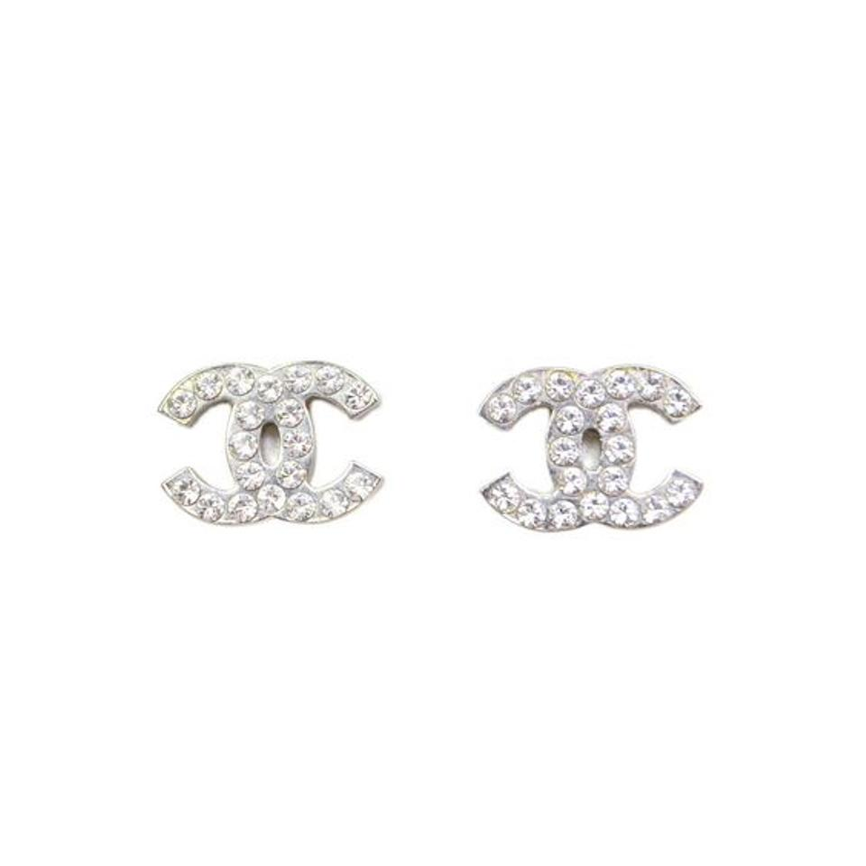 hallmark l stud earrings chanel real crystal cc silver classic