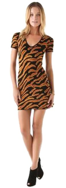 Item - Brown Jacquard Carerina Tiger Print Short Sleeve V Neck Mid-length Cocktail Dress Size 10 (M)