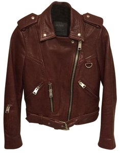 AllSaints Burgundy Leather Jacket