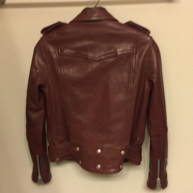 AllSaints Burgundy Leather Jacket Image 1
