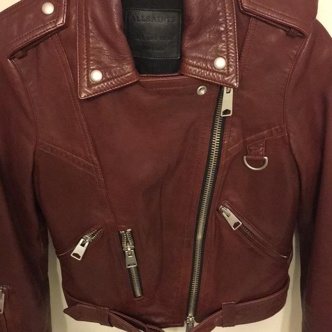 AllSaints Burgundy Leather Jacket Image 2