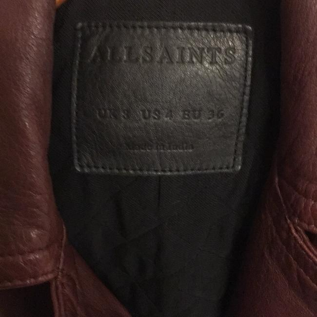 AllSaints Burgundy Leather Jacket Image 3