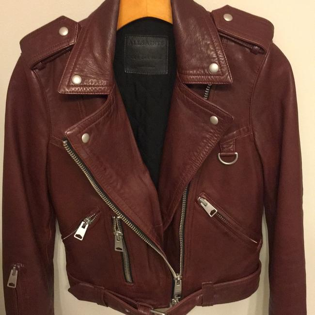 AllSaints Burgundy Leather Jacket Image 5