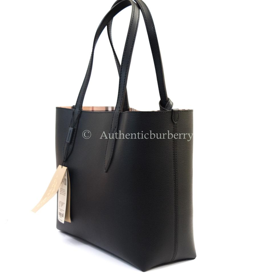 43f5a7863914 Burberry Lavenby Small Reversible Haymarket Black Leather Tote - Tradesy