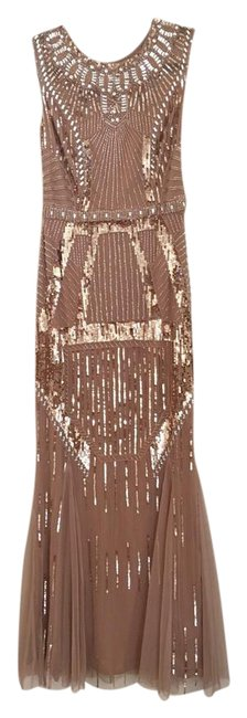 Item - Nude Polyester Beaded Mesh Trumpet Gown Formal Bridesmaid/Mob Dress Size 4 (S)