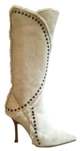 Jimmy Choo Shearling Fur Vintage Studded Ivory Boots