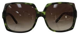 Burberry New Oversized Green Gradient B4084 3279/13 Brown Lens Silver Sunglasses