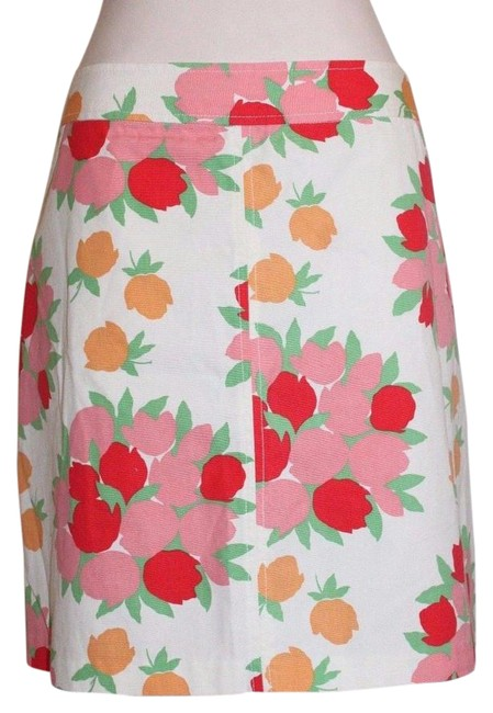 Item - White Multi Elevenses Floral Tulip Bouquets Print Summer Skirt Size 4 (S, 27)