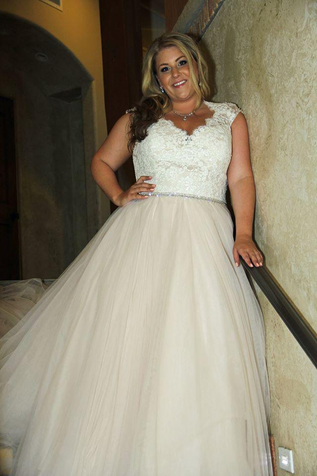 Allure Bridals Ivory/Champagne Gauzy Tulle; Lace Bodice; Sheer ...