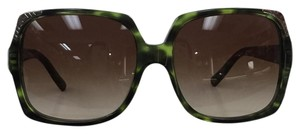 Burberry New Oversized Green B 4084 3279-13 Gradient Silver Logo On Temple Sunglasses