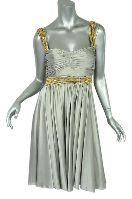 Item - Silver Grey with Gold Chains Silk+chain Embellished Ruched Bustier/Evening Short Night Out Dress Size 4 (S)