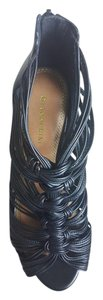 Gianni Bini Strappy Night Out Leather Black Sandals