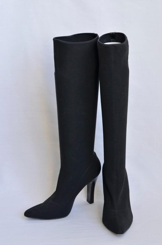 0b0bc77d19f Dolce Gabbana Black Stretch Knee High Heel Tall Womens Pointy Boots Booties  Size US 8.5 Regular (M
