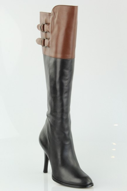 Item - Black and Brown Air Georgina Two-tone Leather Tall Boots/Booties Size US 7 Regular (M, B)