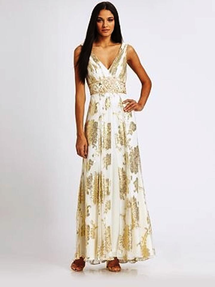Sue Wong Gold/White Women\'s Metallic Beaded Silk Jacquard Gown ...