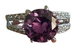 Jared 14K White Gold Large Round Purple Amethyst Split Shank Gemstone Ring