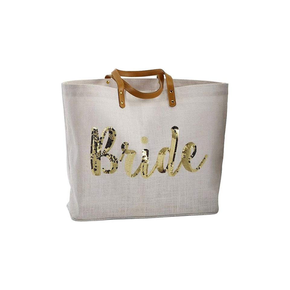 Bride Gold Sequin Tote Bride Bag For Newlywed Wedding Gift Or Travel