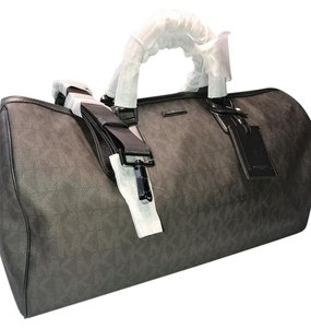 f2a6d567be31 Michael Kors Jet Set Duffle Brown Pvc Coated Canvas Weekend Travel ...