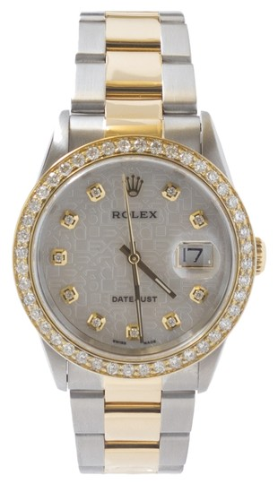 Rolex Men's Rolex Two Tone 18K Yellow Gold Oyster Band Datejust Watch.