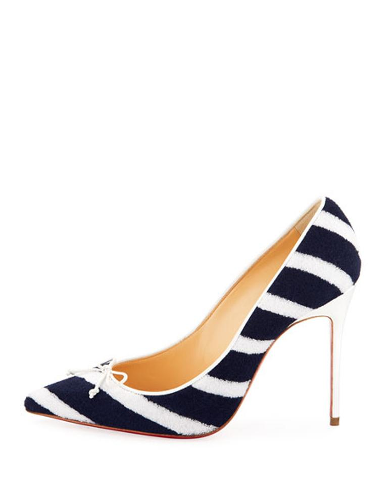 4737754bcc9 Christian Louboutin Decol Spa Mariniere Striped Terry Heels Navy White Pumps  Image 0 ...