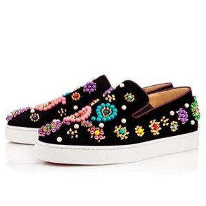 Christian Louboutin Boat Candy Beaded Studded Black Athletic