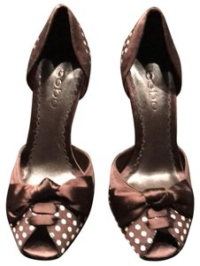 bebe Polka Dot Bow Detail Brown/Cream Pumps