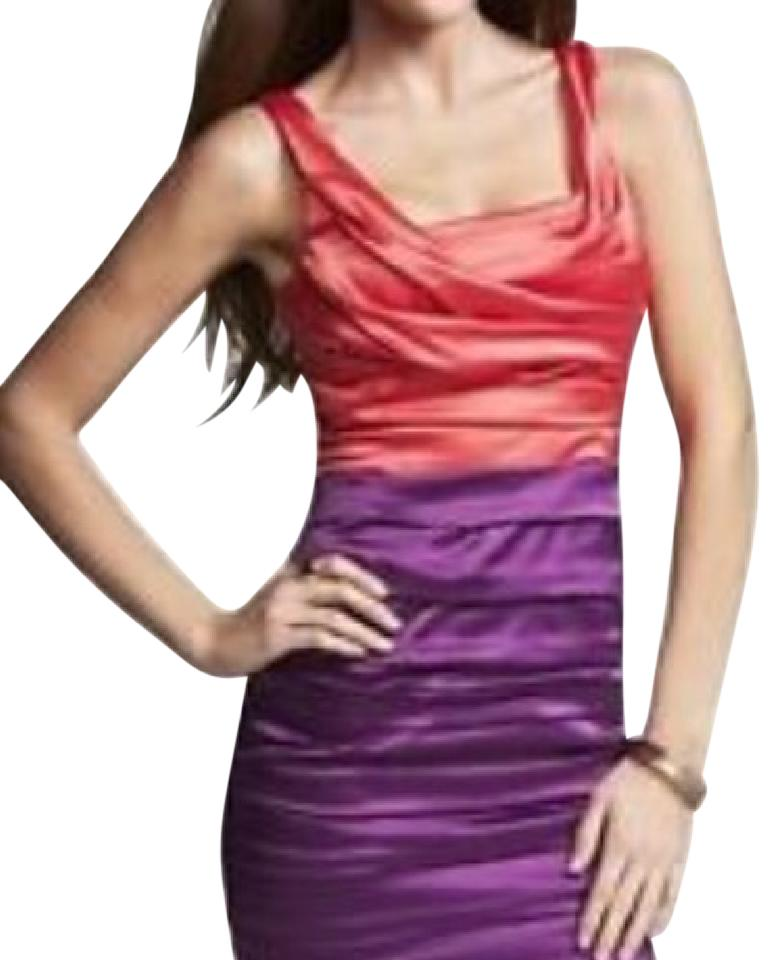 Express Coral and Purple Colorblocking Ruched Satin Bright Cocktail ...