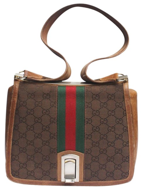 Item - GG Supreme Shoulder Bag W ssima Canvas/Leather Saddle Red/Green Sherry Brown G Print/Red/Green Stripe Leather Satchel
