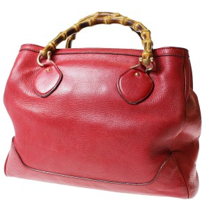 Gucci Extra Large Size Or Tote Multi-compartment Great Pop Of Color Excellent Vintage Satchel in red leather with bamboo handles
