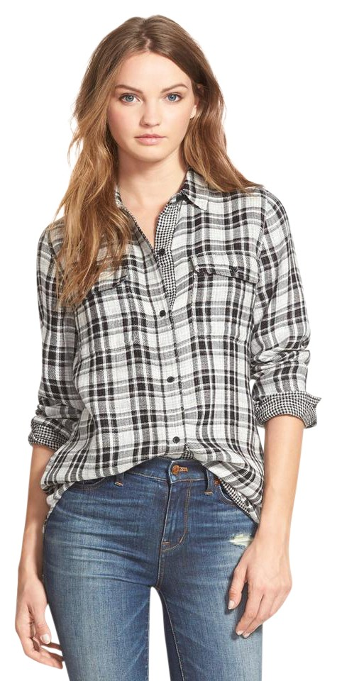 Madewell black kemp plaid ex boyfriend gauze shirt blouse for Gauze button down shirt