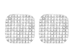 Jewelry Unlimited Men's Ladies 10K White Gold Genuine Diamond Square Stud Earring 1/2 Ct