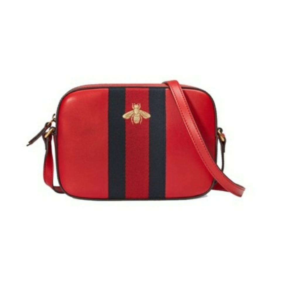 d7e0f8ffda9 Gucci Nwts Bee Web Red Leather Shoulder Bag - Tradesy