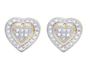 Jewelry Unlimited Ladies 10K Yellow Gold Genuine Diamond Double Heart Stud Earring