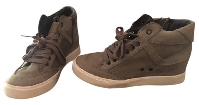 Item - Taupe Leather Jimmmy Sneaker Wedges Size US 7 Regular (M, B)