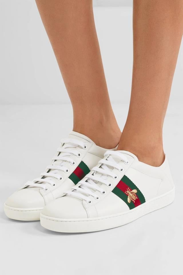 7644519293c2 Gucci White New Ace Web Bee Eu 38.5 Sneakers Size US 8.5 Regular (M ...
