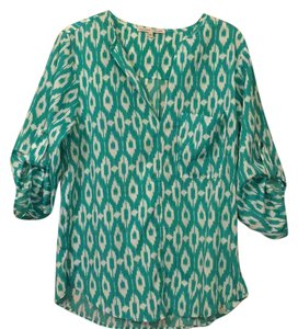 Collective Concepts Top turquoise and white pattern