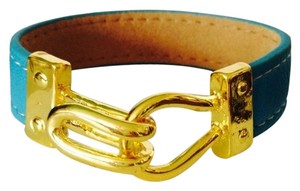 2 B Rych Gold-Tone Turquoise Leather Hook Bracelet