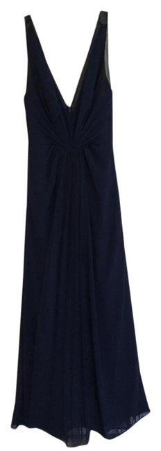Item - Navy Combo Tulle and Chiffon V-neck Style: 450381 Formal Bridesmaid/Mob Dress Size 8 (M)