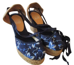 Elena Solano Ankle Tie Navy Embroidered Espadrilles Sandals Wedges