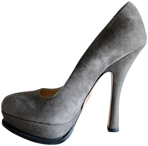 Prada Suede Platform Grey Pumps