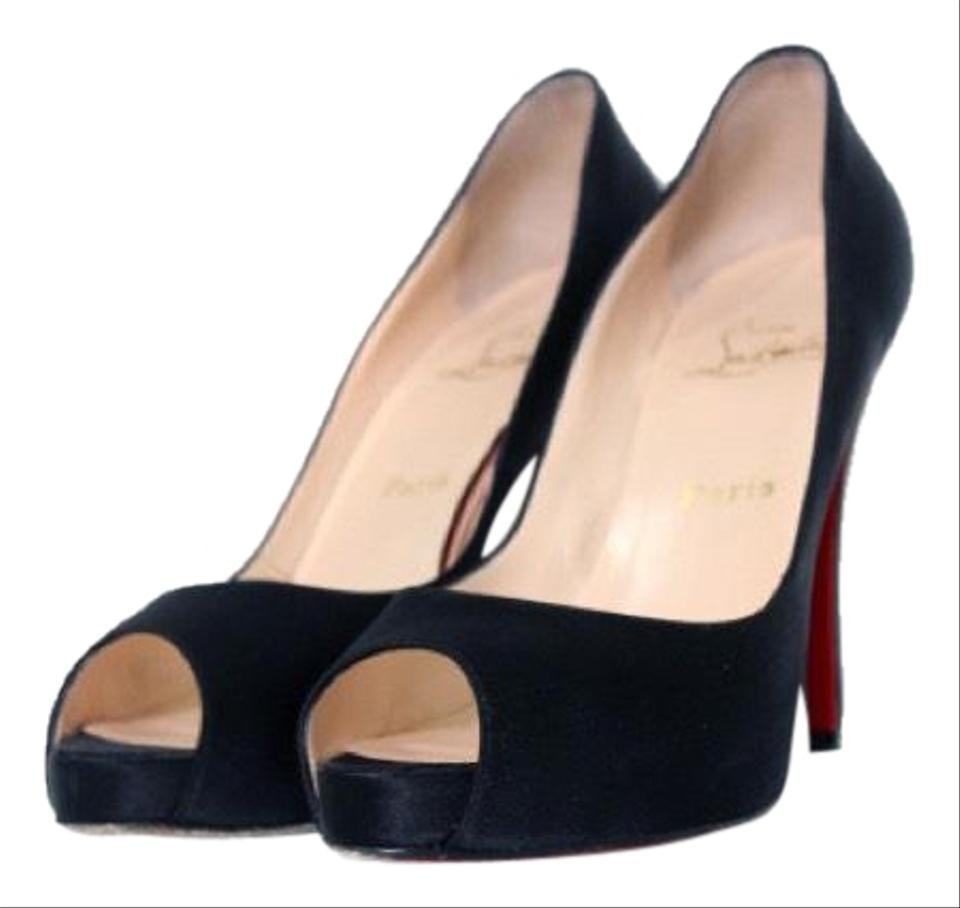 b1bc18d467e1 Christian Louboutin Black with Red Soles Very Prive Platforms Size ...